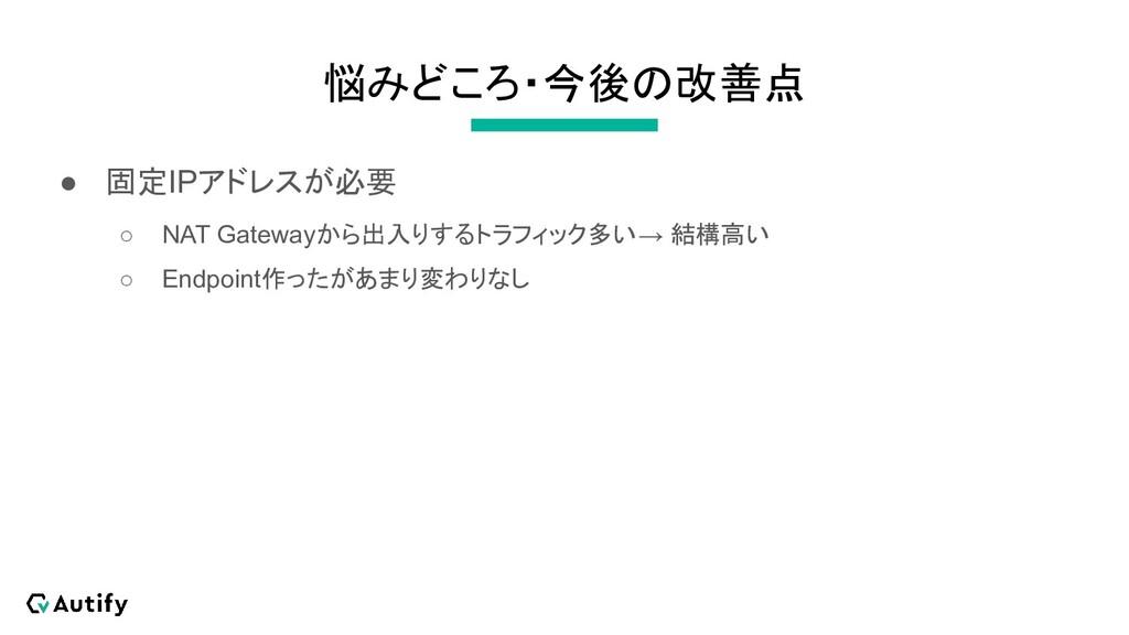 悩みどころ・今後の改善点 ● 固定IPアドレスが必要 ○ NAT Gatewayから出入りする...