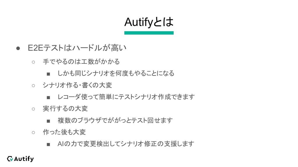 Autifyとは ● E2Eテストはハードルが高い ○ 手でやるのは工数がかかる ■ しかも同...