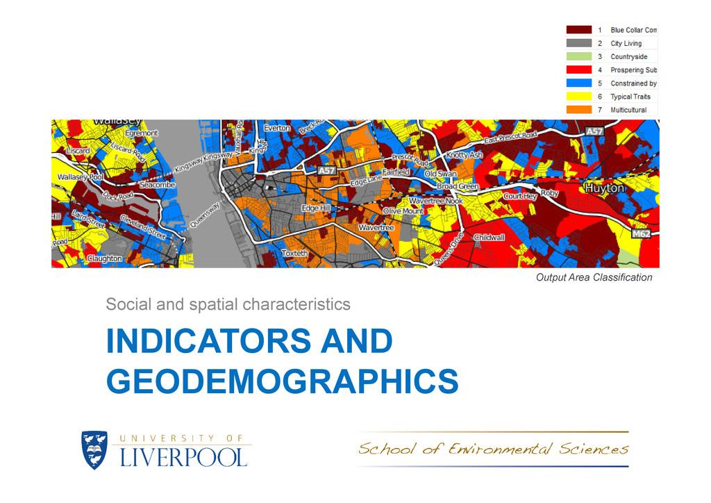 INDICATORS AND GEODEMOGRAPHICS Social and spati...