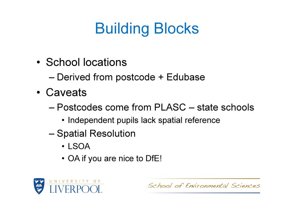 Building Blocks • School locations – Derived fr...