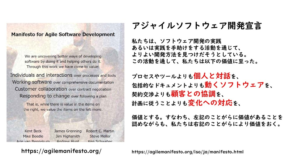 https://agilemanifesto.org/ アジャイルソフトウェア開発宣言 私たち...