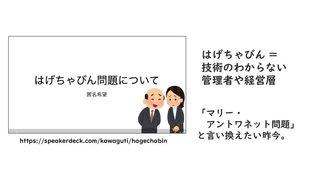 https://speakerdeck.com/kawaguti/hagechabin はげち...