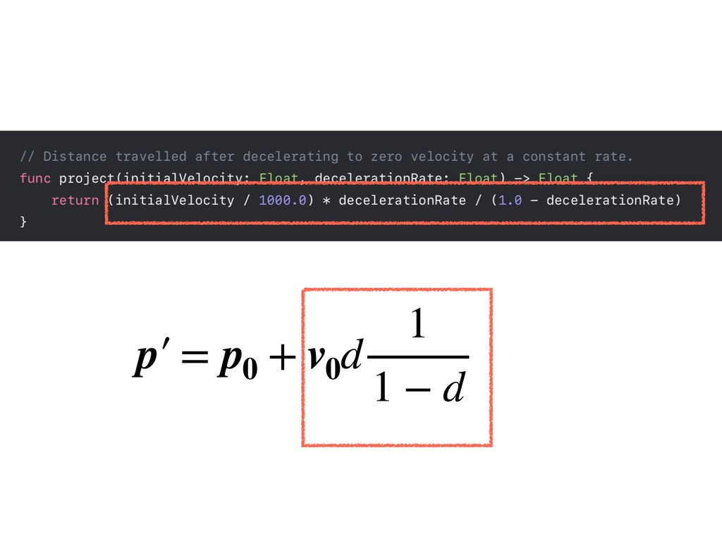 p′ = p0 + v0 d 1 1 − d