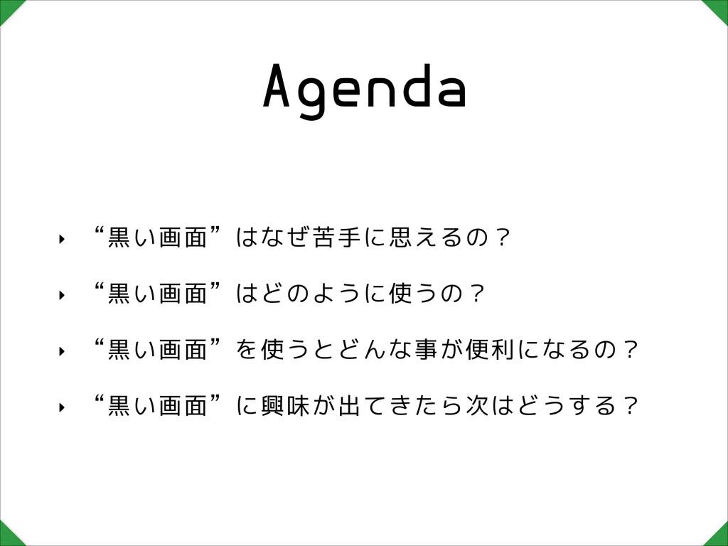 """Agenda ‣ """"黒い画面""""はなぜ苦手に思えるの? ‣ """"黒い画面""""はどのように使うの? ‣..."""
