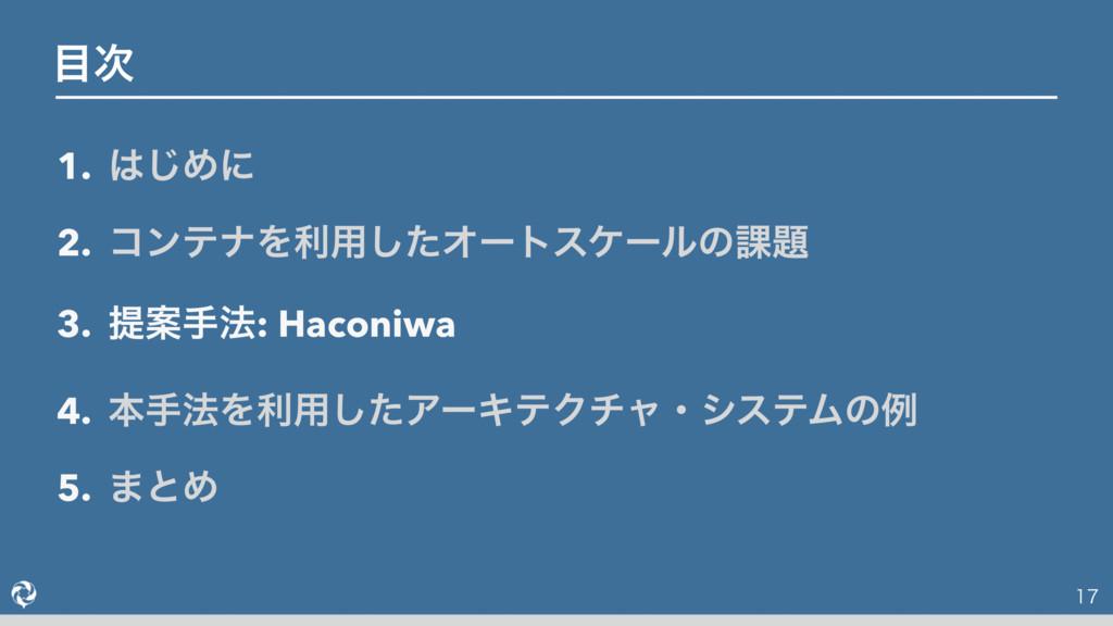 1. ͡Ίʹ 2. ίϯςφΛར༻ͨ͠Φʔτεέʔϧͷ՝ 3. ఏҊख๏: Haconiw...