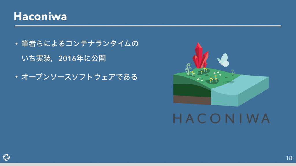 Haconiwa  • චऀΒʹΑΔίϯςφϥϯλΠϜͷ ͍࣮ͪɼ2016ʹެ։ •...