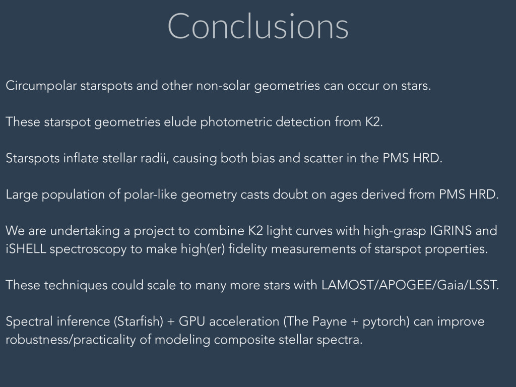 Conclusions Circumpolar starspots and other non...