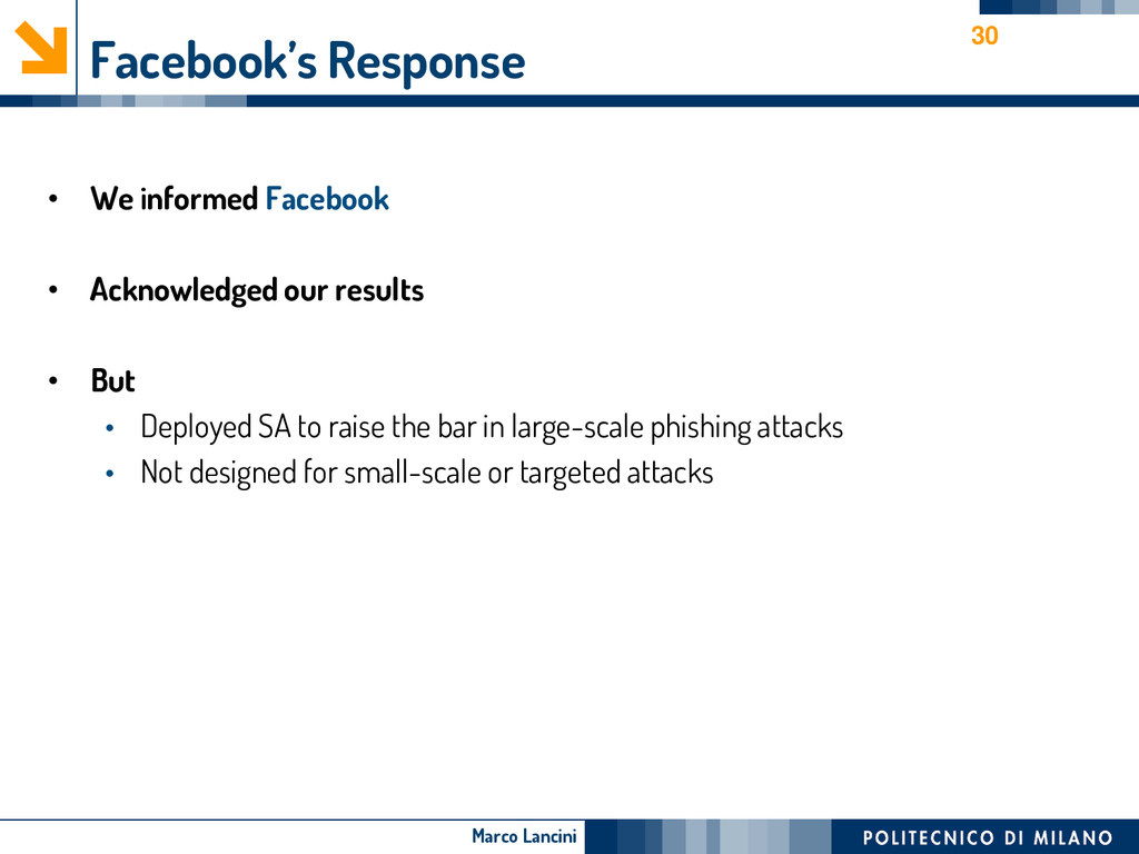 Marco Lancini Facebook's Response • We informed...