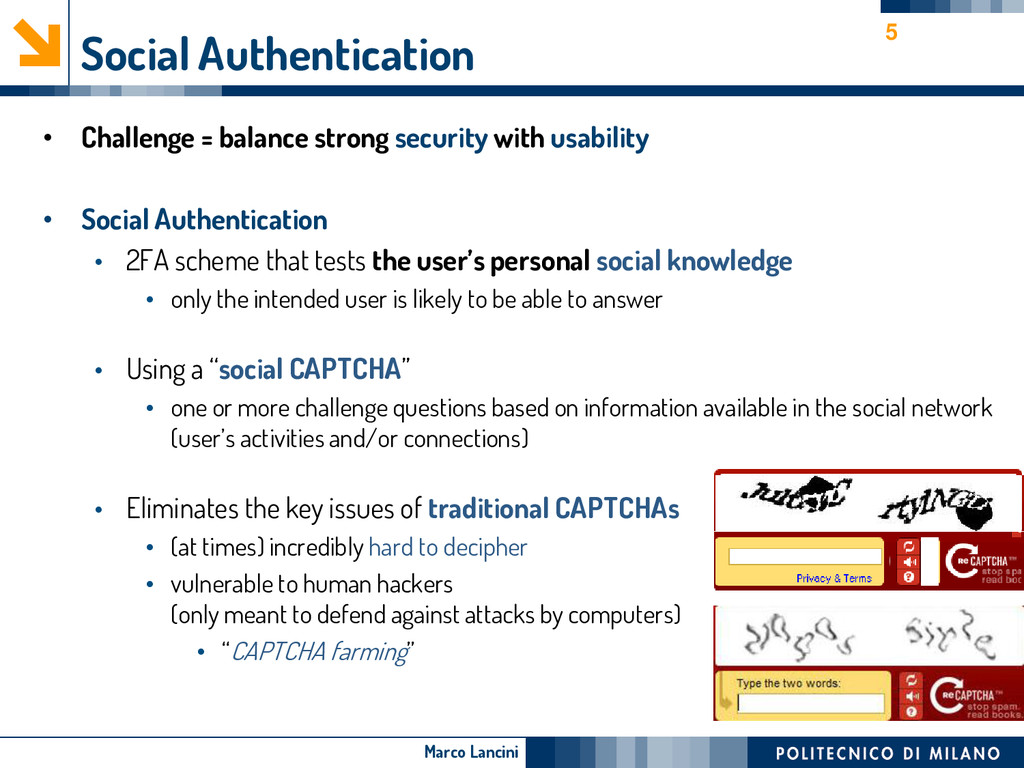 Marco Lancini Social Authentication • Challenge...
