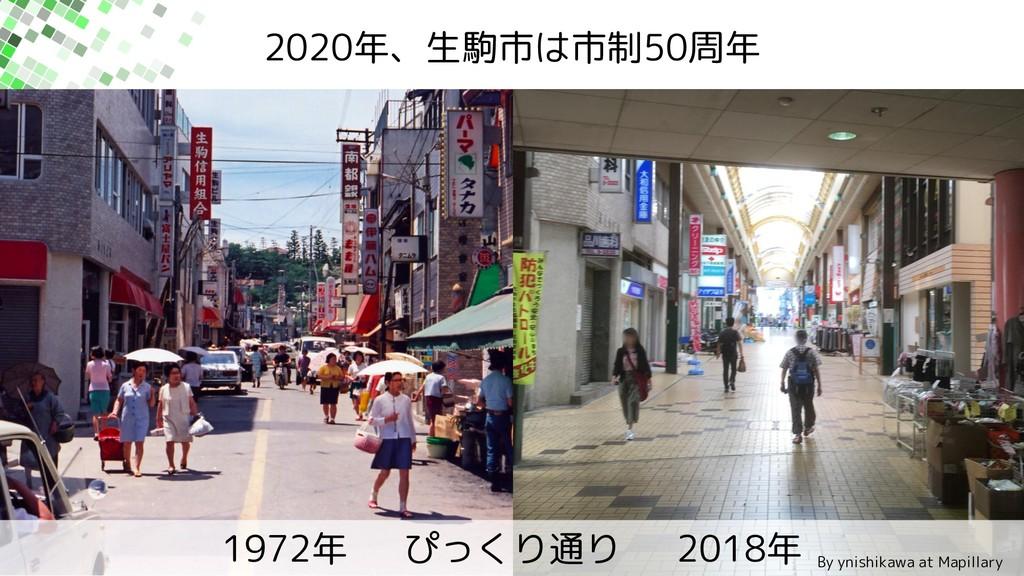 2020年、生駒市は市制50周年 1972年 ぴっくり通り 2018年 By ynishika...