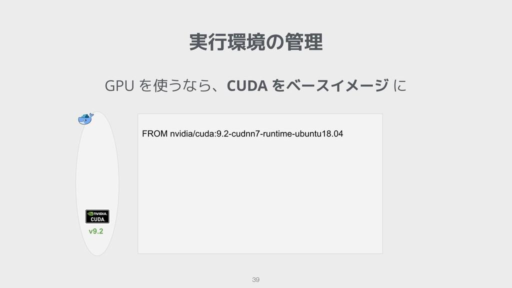!39 実行環境の管理 GPU を使うなら、CUDA をベースイメージ に