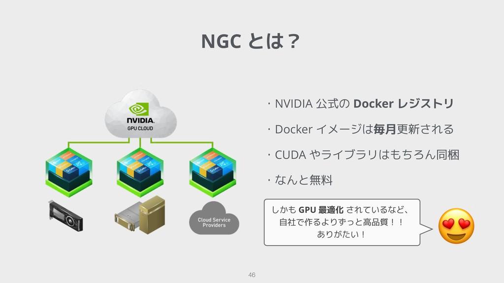 NGC とは? !46 ・NVIDIA 公式の Docker レジストリ ・Docker イメ...