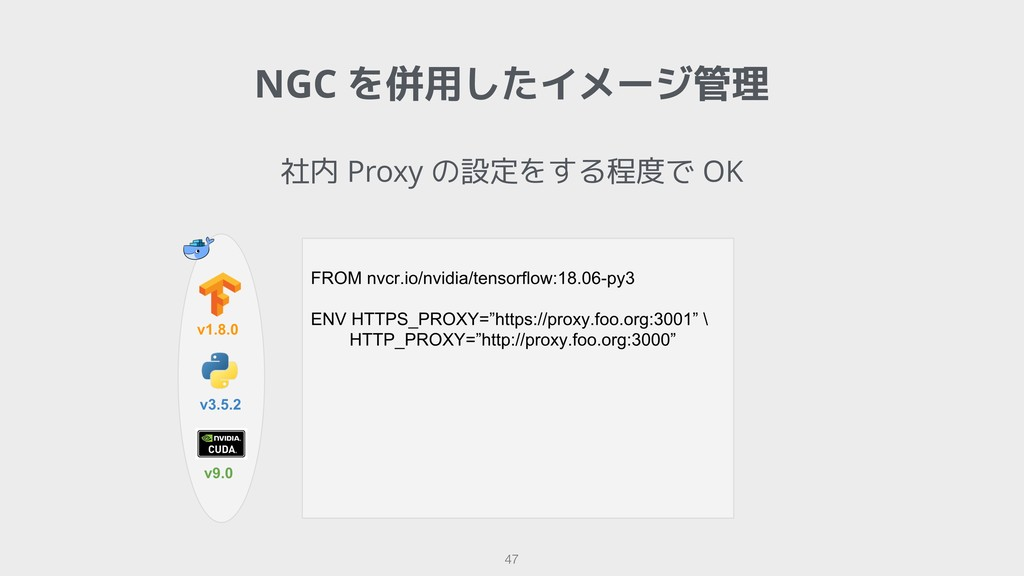!47 社内 Proxy の設定をする程度で OK NGC を併用したイメージ管理