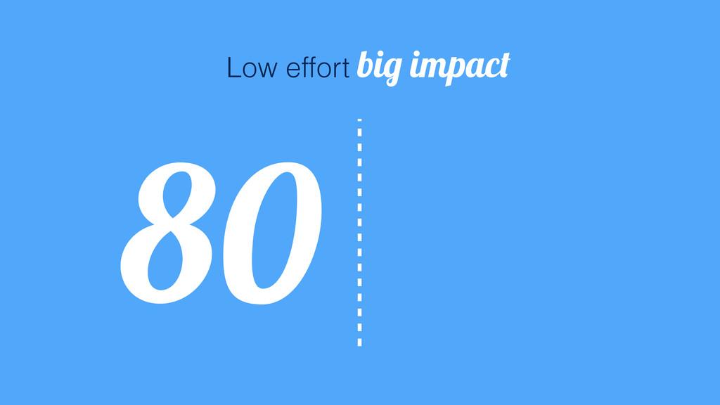 20 80 Low effort big impact