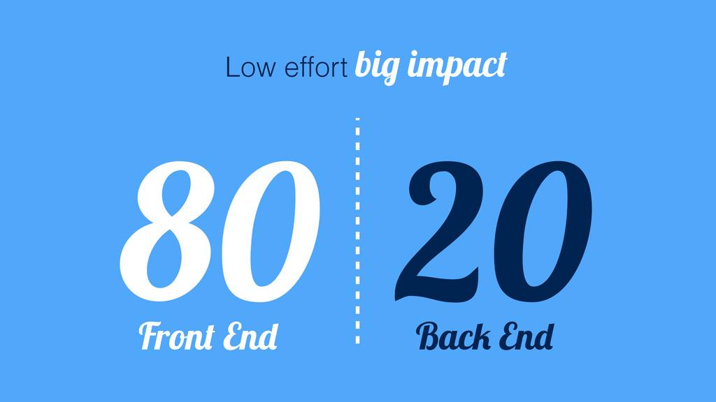 20 80 Low effort big impact Front End Back End
