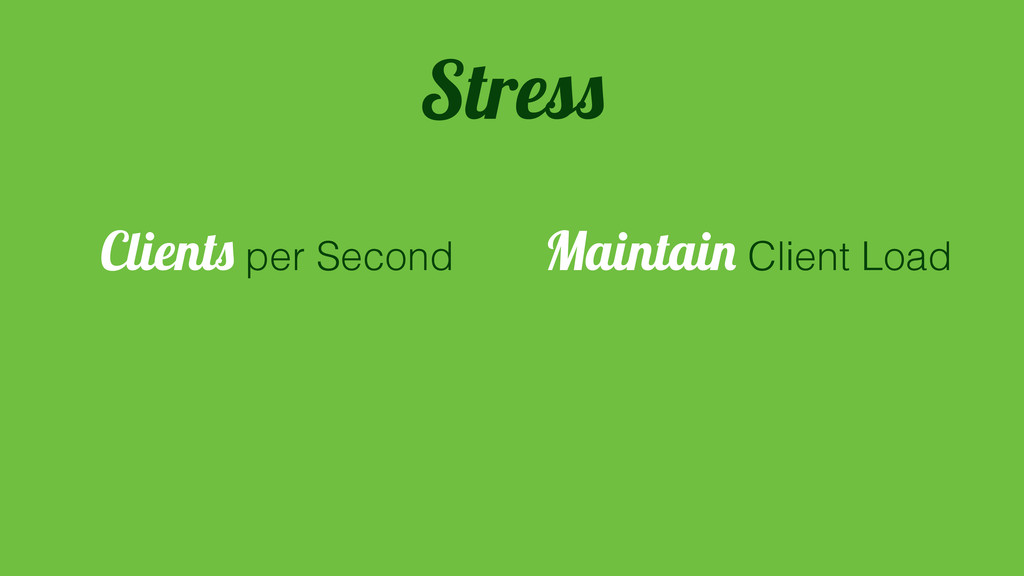 Clients per Second Maintain Client Load Stress