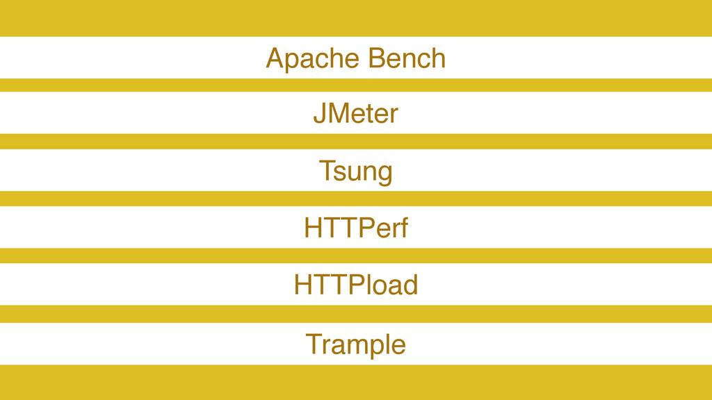 Apache Bench JMeter Tsung HTTPerf HTTPload Tram...