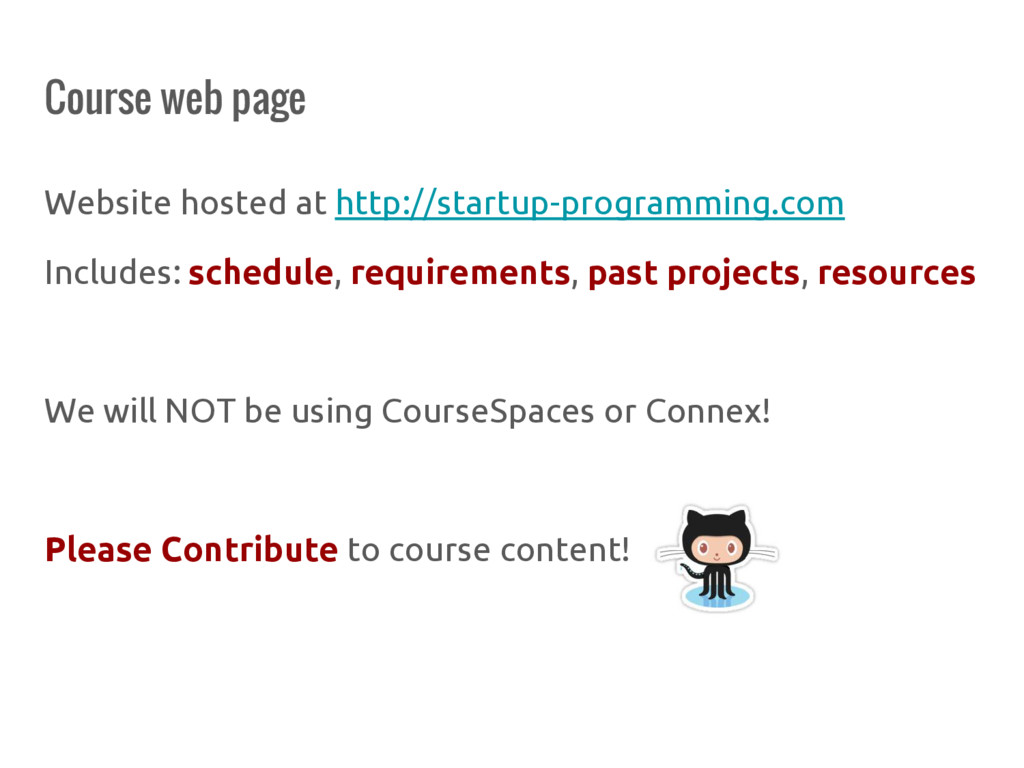 Course web page Website hosted at http://startu...