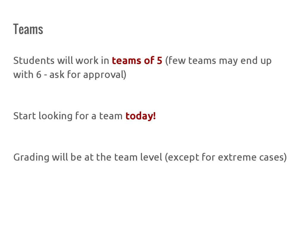 Teams Students will work in teams of 5 (few tea...