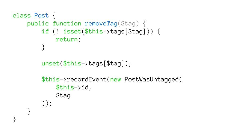 class Post { public function removeTag($tag) { ...