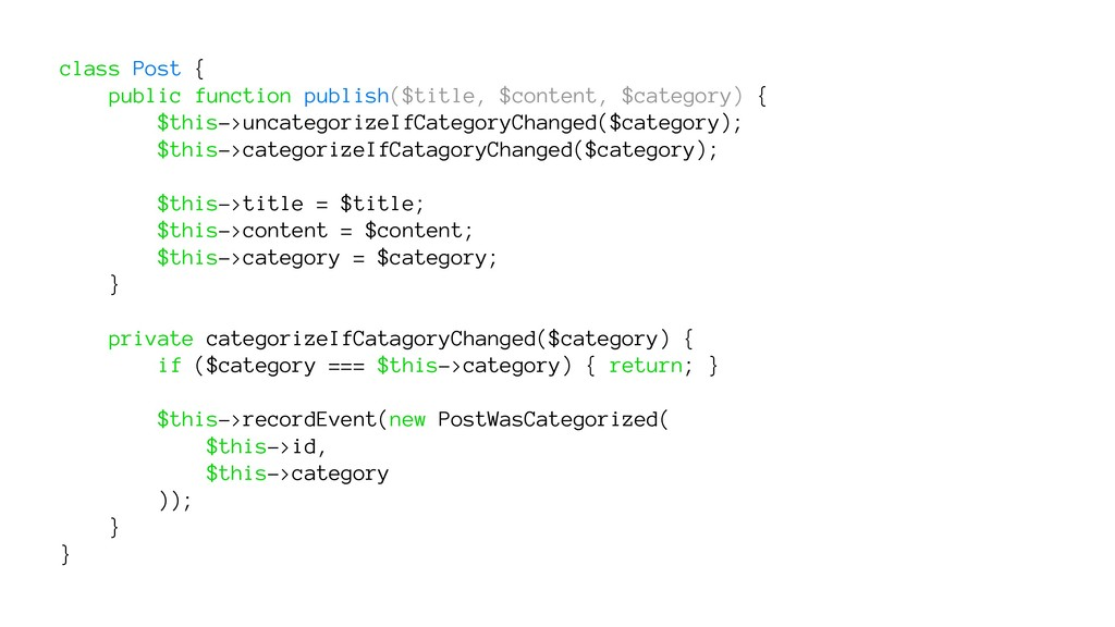 class Post { public function publish($title, $c...