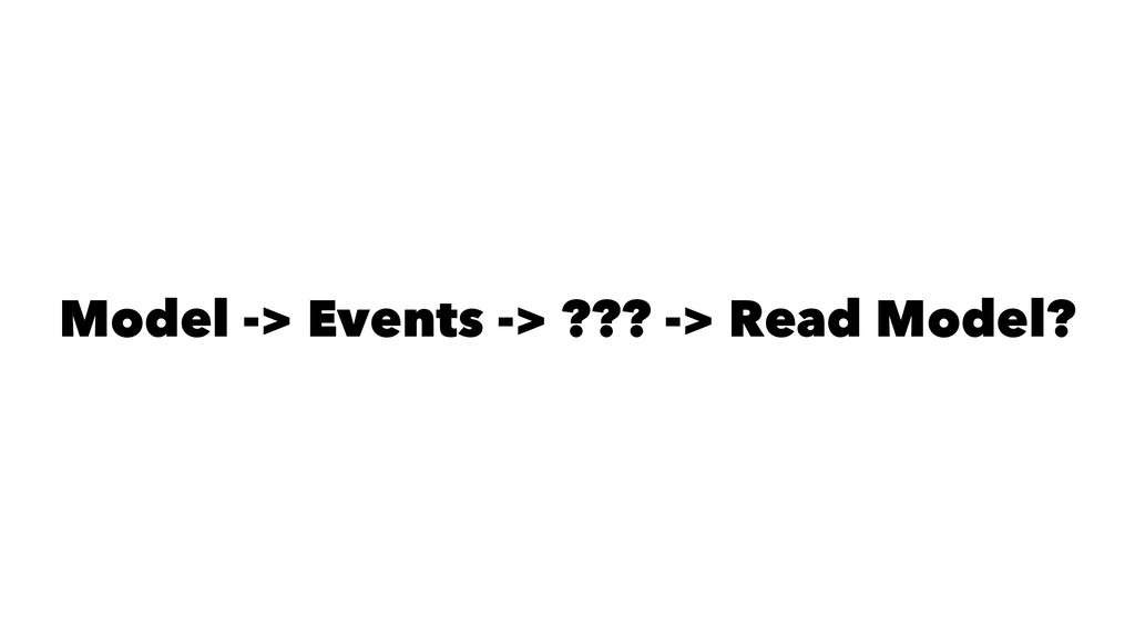 Model -> Events -> ??? -> Read Model?