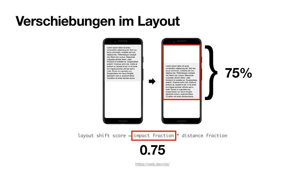 layout shift score = impact fraction * distance...