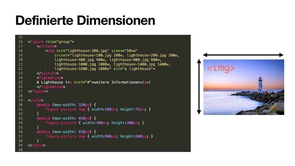 Definierte Dimensionen <img>