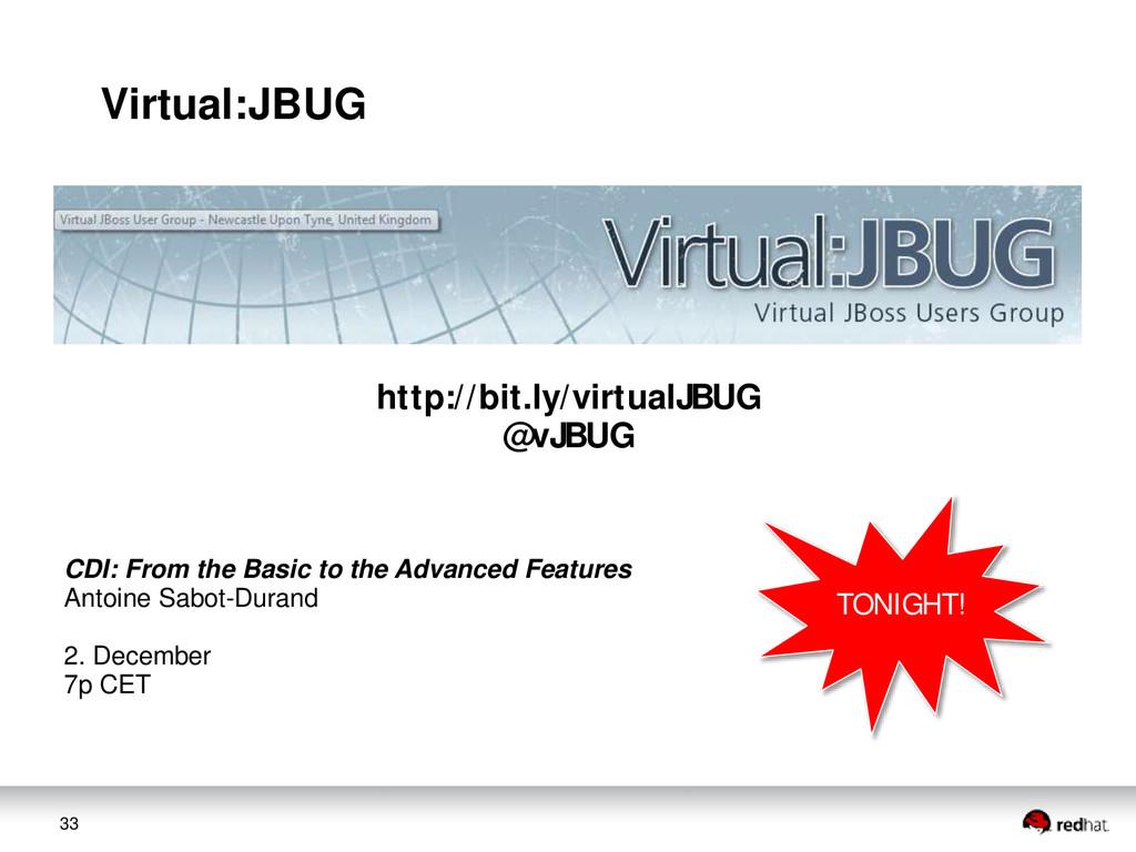 33 Virtual:JBUG http://bit.ly/virtualJBUG @vJBU...