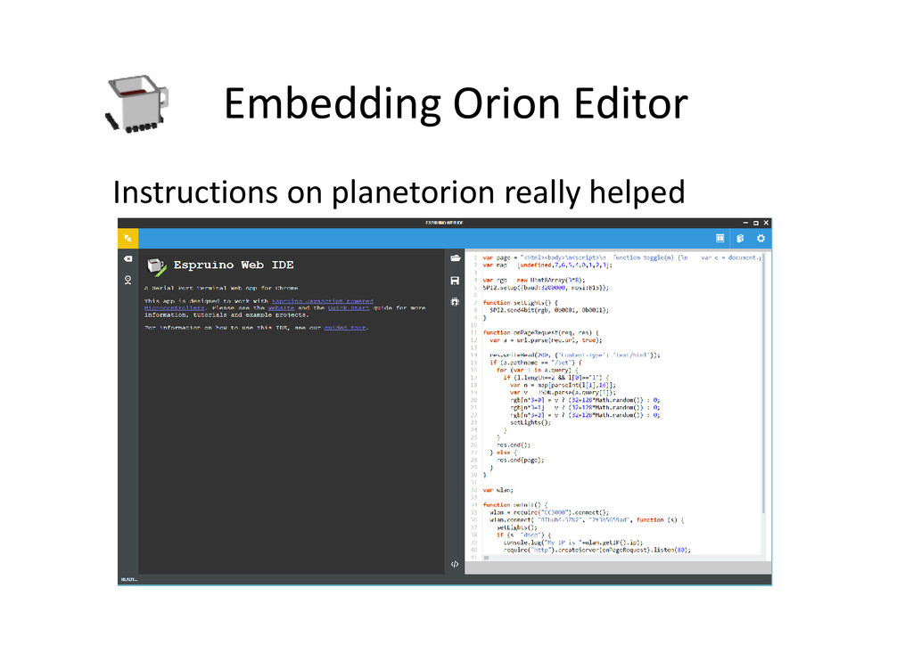 Embedding Orion Editor Instructions on planetor...
