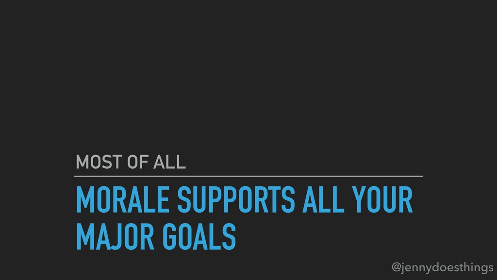 MORALE SUPPORTS ALL YOUR MAJOR GOALS MOST OF AL...