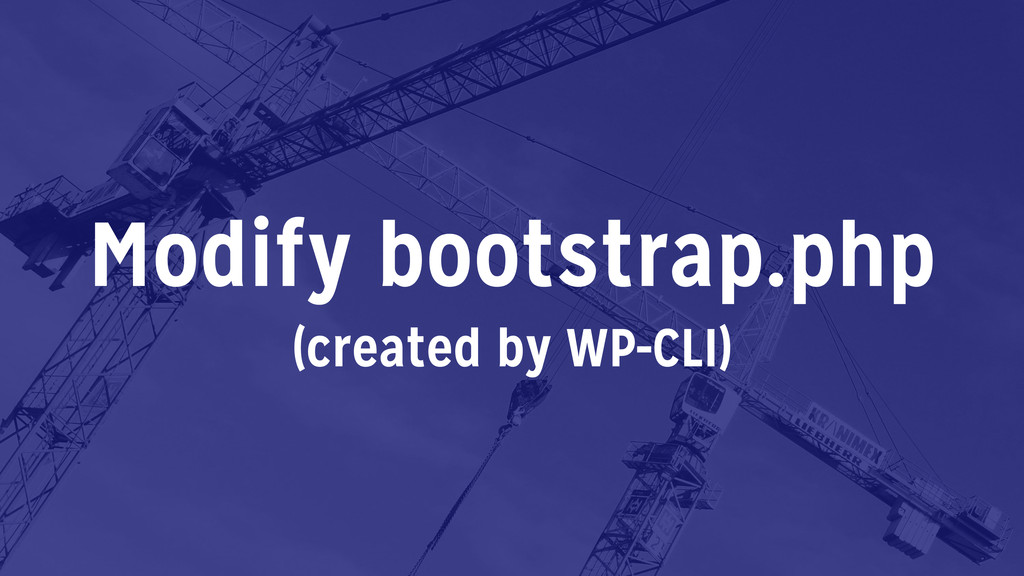 Modify bootstrap.php (created by WP-CLI)