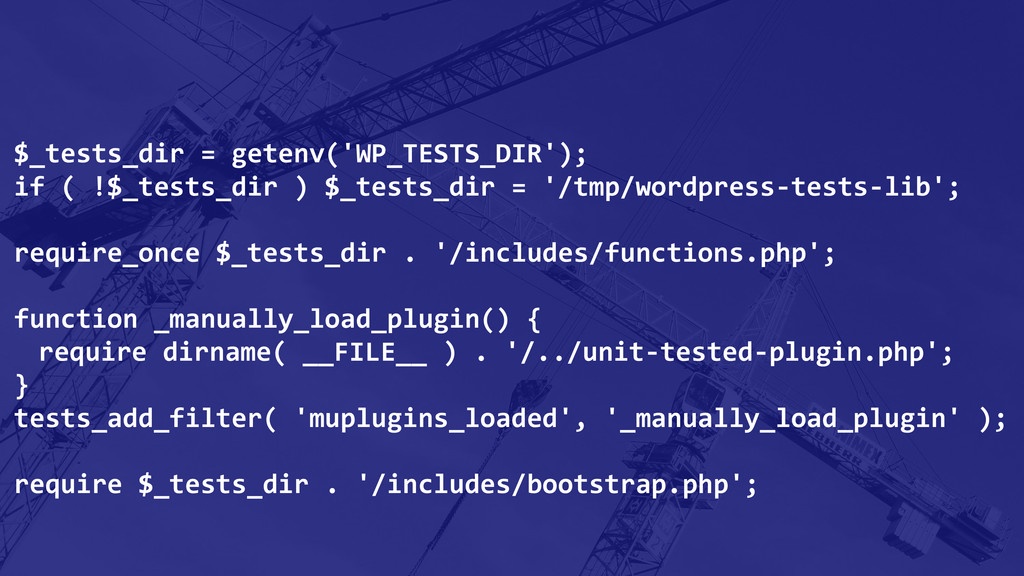 $_tests_dir = getenv('WP_TESTS_DIR'); if...