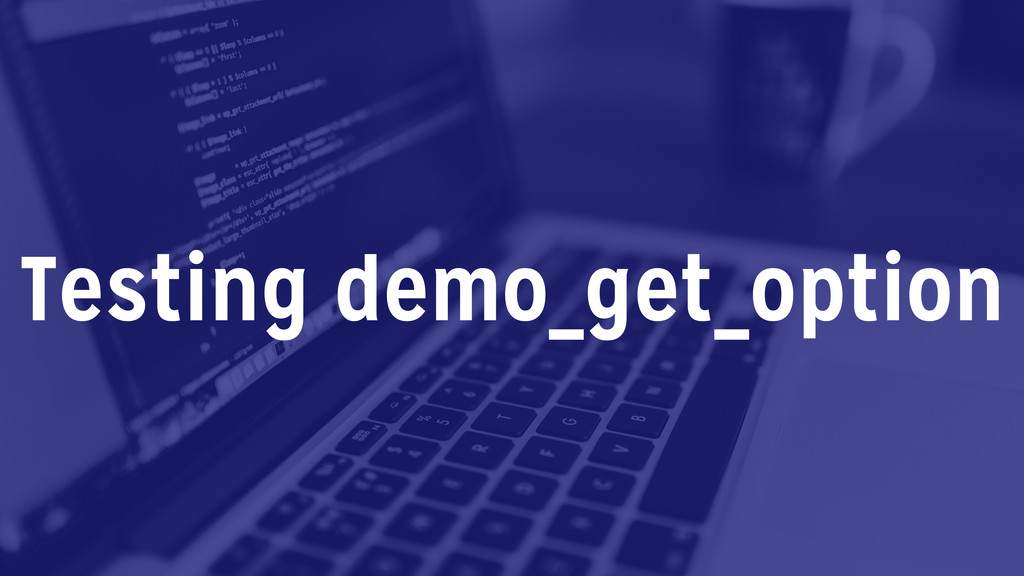 Testing demo_get_option