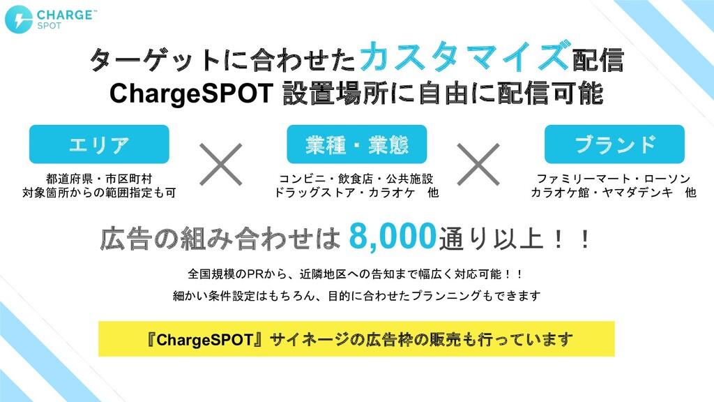 ターゲットに合わせたカスタマイズ配信 ChargeSPOT 設置場所に自由に配信可能 広告の組...