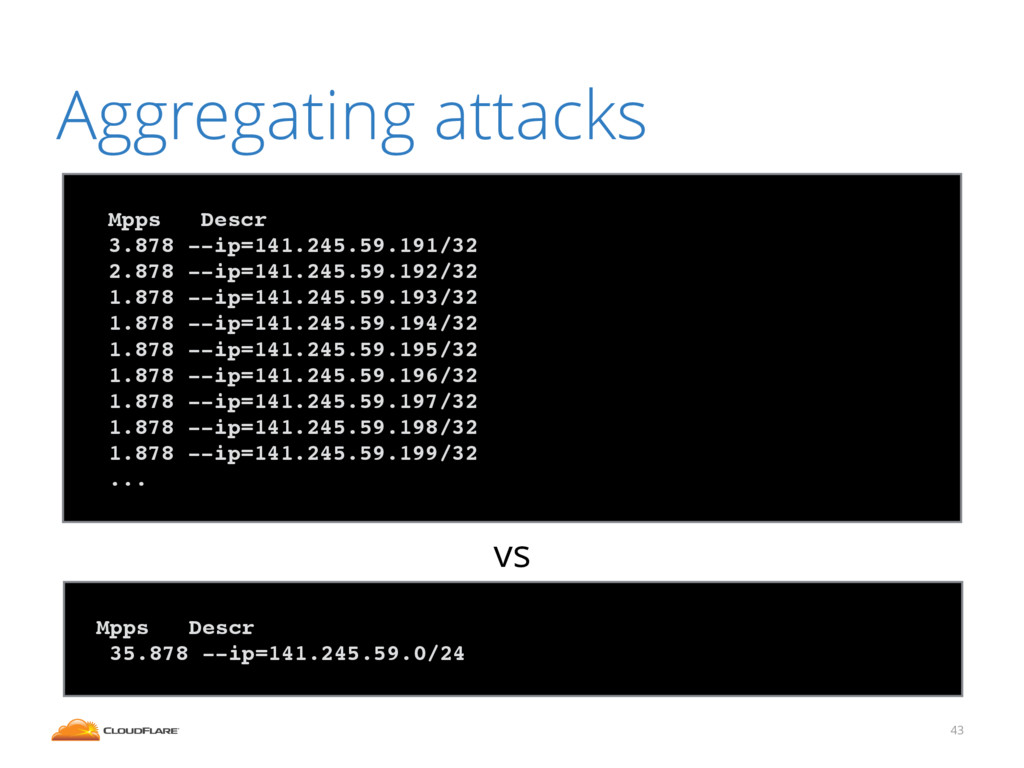 43 Aggregating attacks ! Mpps Descr! 3.878 --ip...