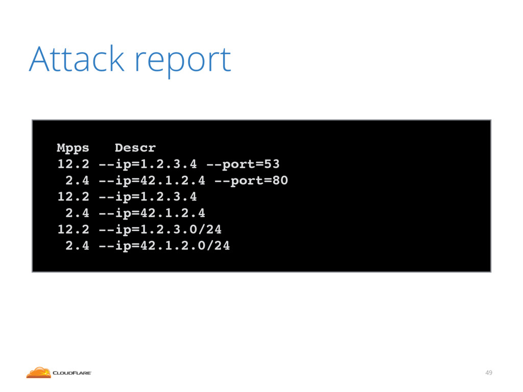 49 Attack report ! Mpps Descr! 12.2 --ip=1.2.3....