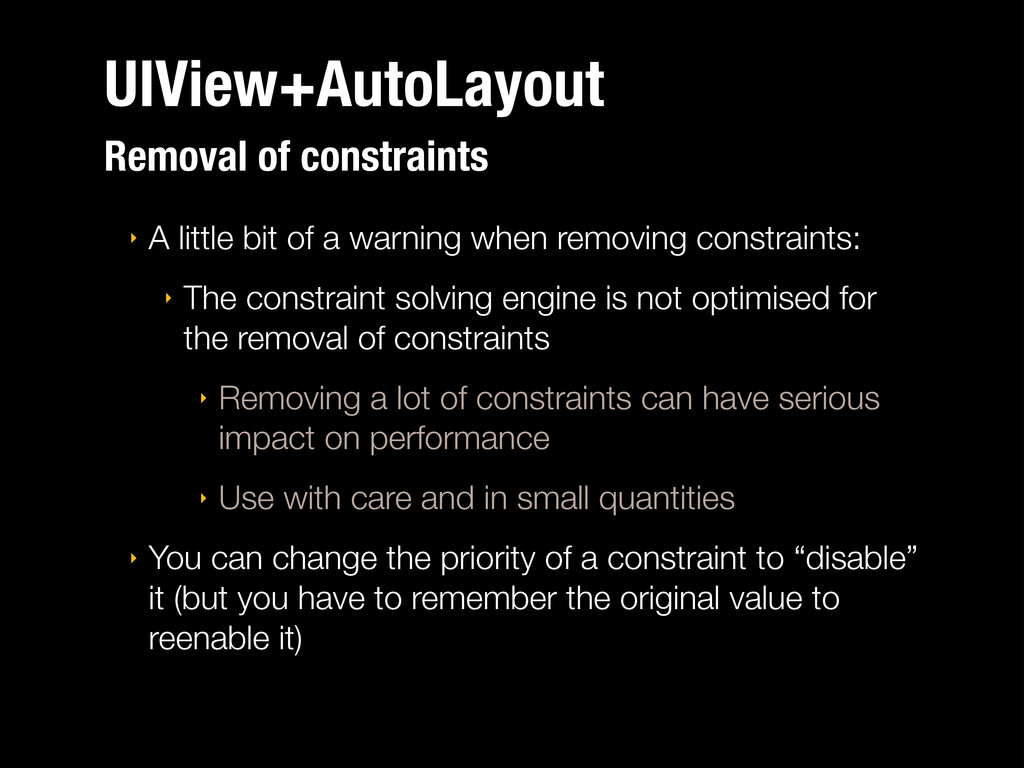 UIView+AutoLayout Removal of constraints ‣ A li...