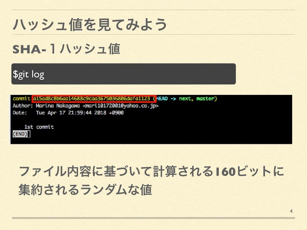 4 ϋογϡΛݟͯΈΑ͏ SHA-̍ϋογϡ $git log ϑΝΠϧ༰ʹج͍ͮͯܭ...