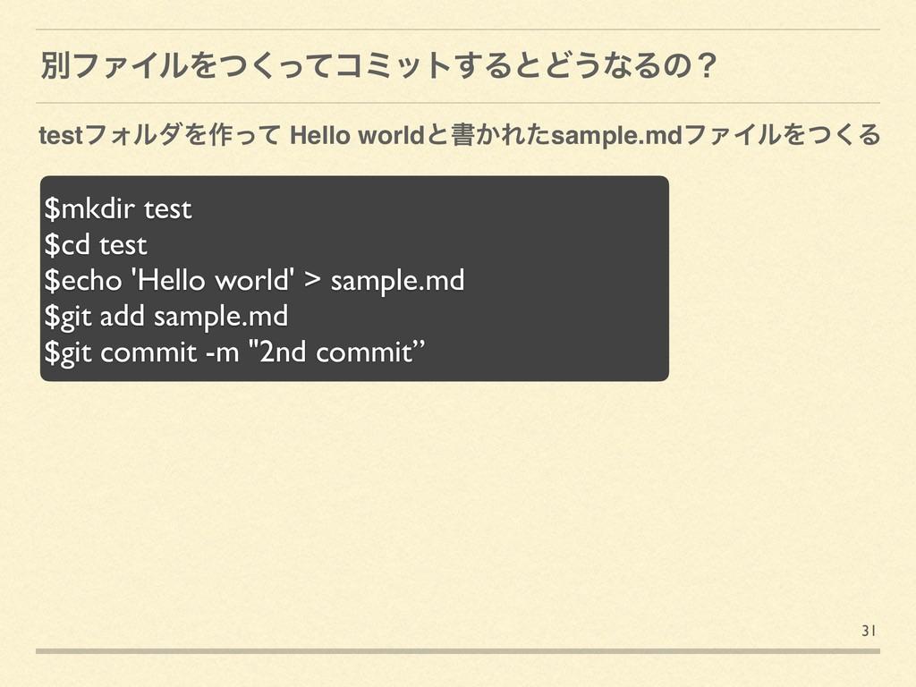 31 ผϑΝΠϧΛͭͬͯ͘ίϛοτ͢ΔͱͲ͏ͳΔͷʁ $mkdir test $cd test...