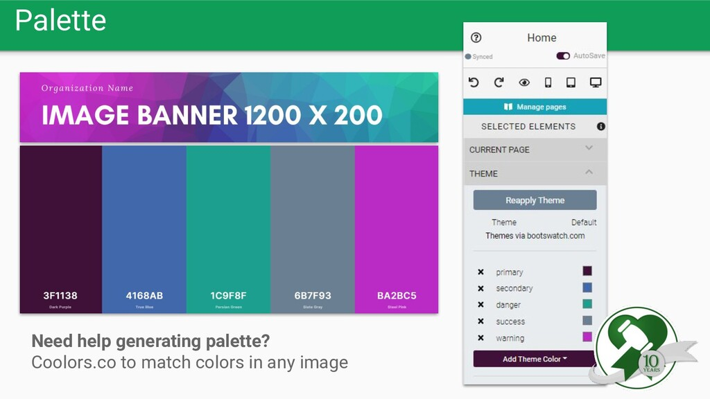 Palette Need help generating palette? Coolors.c...