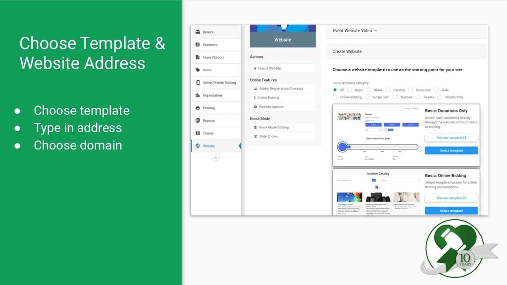 Choose Template & Website Address ● Choose temp...
