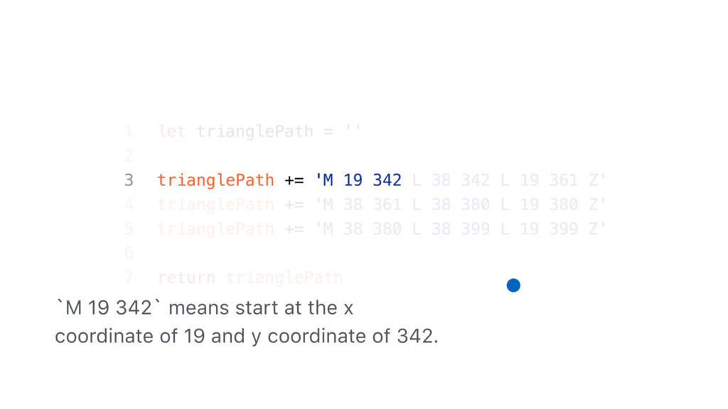 `M 19 342` means start at the x coordinate of 1...