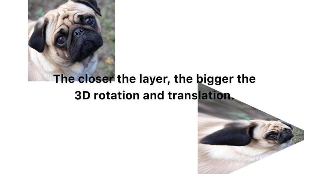 The closer the layer, the bigger the 3D rotatio...