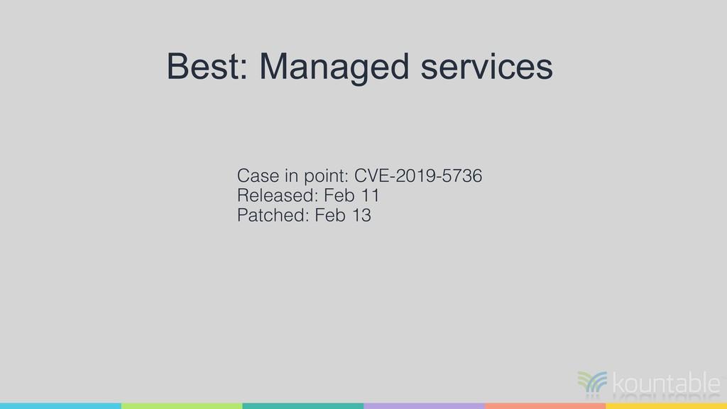 Best: Managed services Case in point: CVE-2019-...