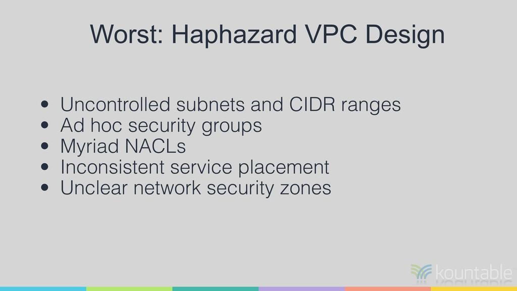Worst: Haphazard VPC Design • Uncontrolled subn...