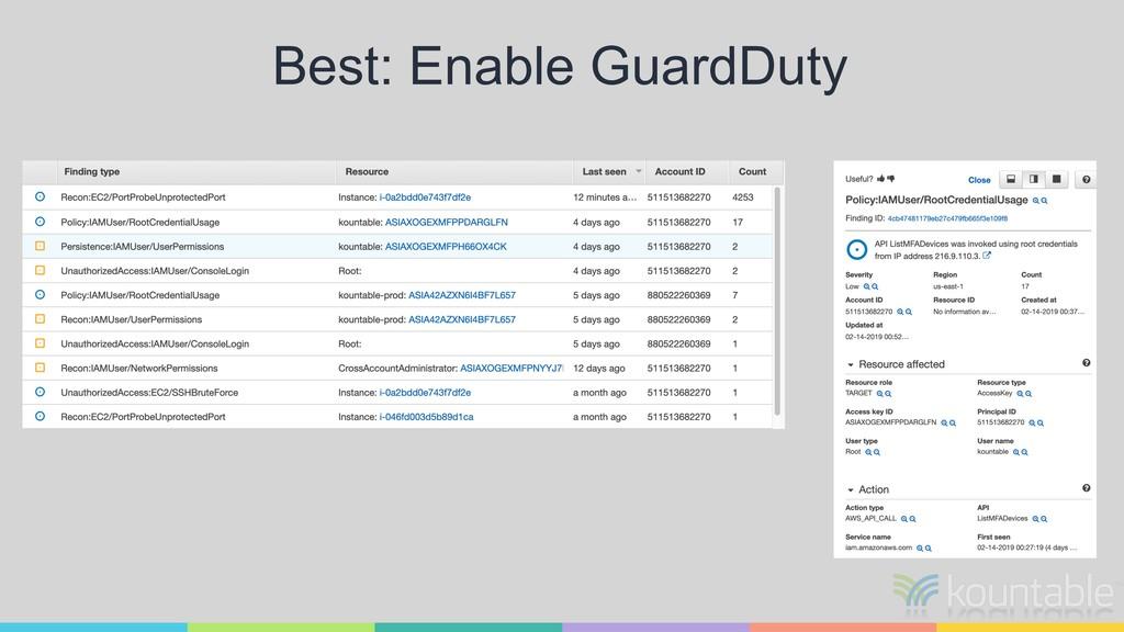 Best: Enable GuardDuty