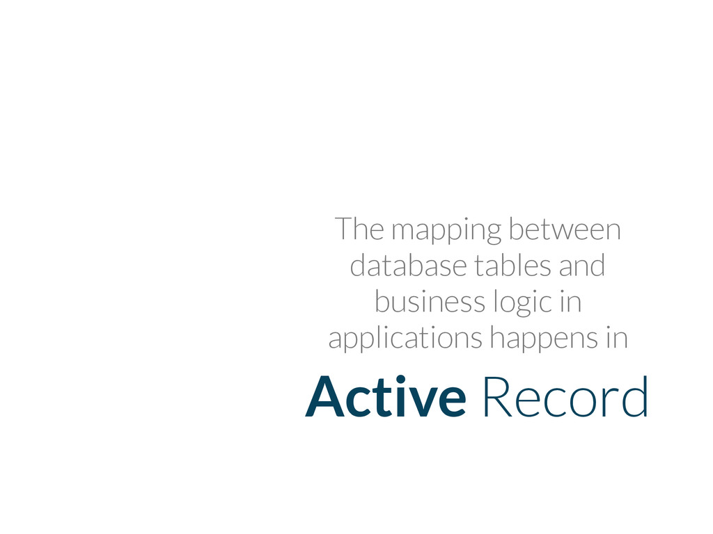 Active Record The mapping between database tabl...