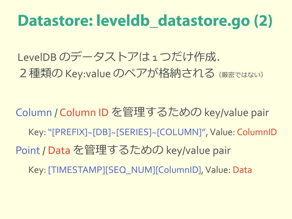 LevelDB のデータストアは 1 つだけ作成. 2種類の Key:value のペアが格納...