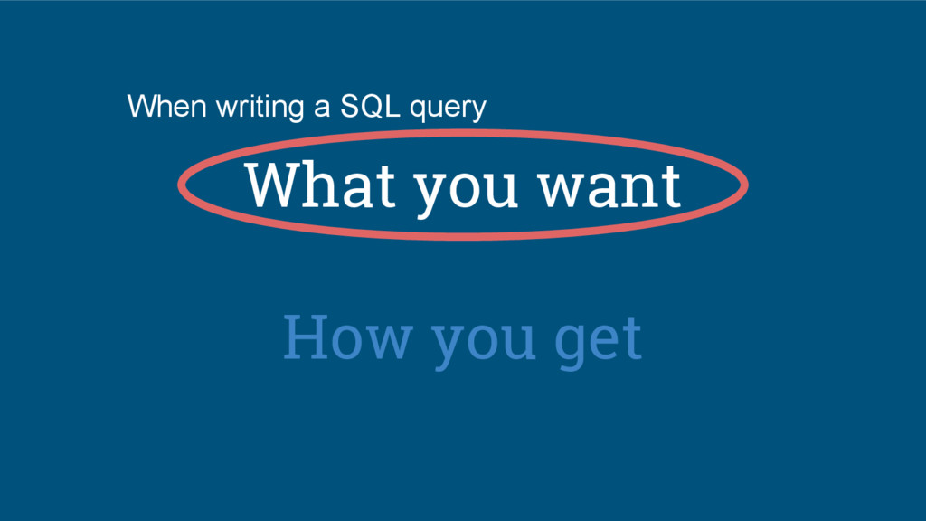 What you want How you get When writing a SQL qu...